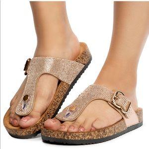 Rose Gold Rhinestones Sandals